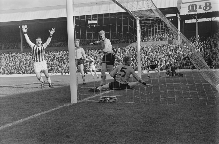 Jeff Astle, pictured scoring for West Bromwich Albion against Wolverhampton Wanderers, died in 2002 as a result of degenerative brain disease a coroner ruled had been brought about through frequent heading of footballs ©Getty Images