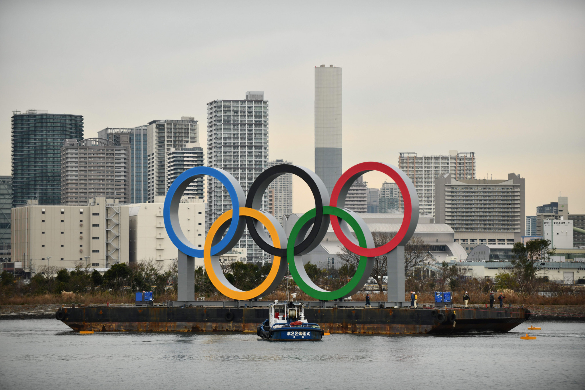 Olympic rings installed at Odaiba Marine Park, as countdown to Tokyo 2020 continues