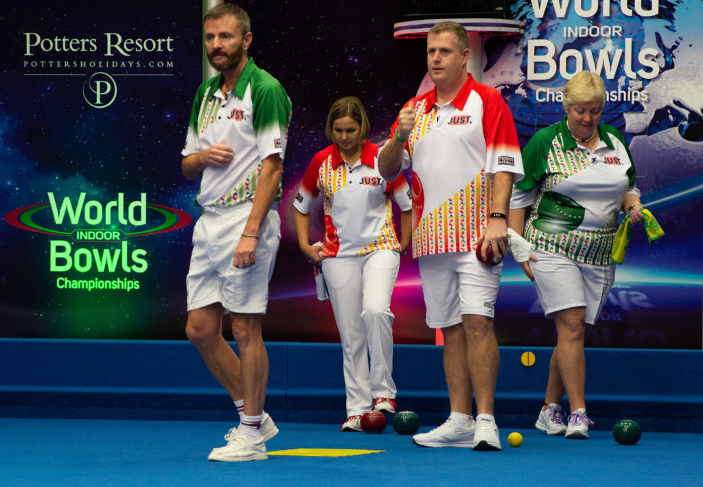 David Gourlay, left, and Janice Gower, right, beat the defending mixed doubles champions tonight at the World Indoor Bowls Championships in Norfolk ©Getty Images