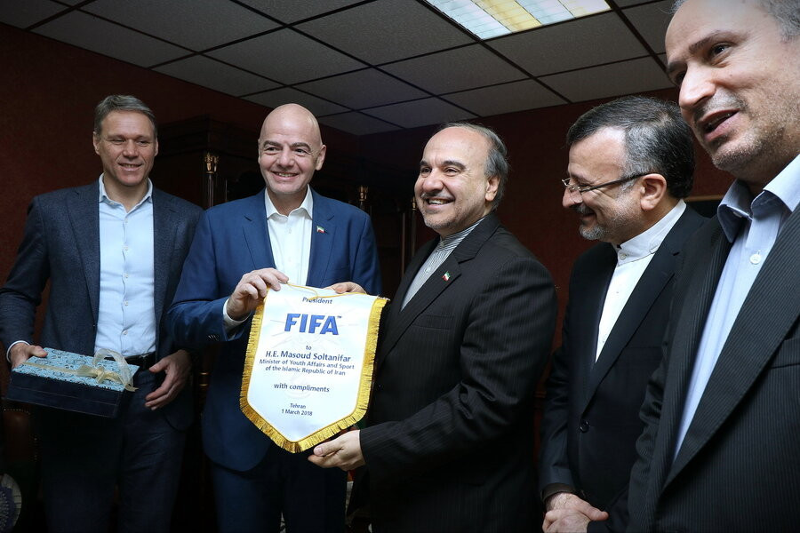 Iran's Minister of Sport and Youth Affairs Masoud Soltanifar recently meet FIFA President Gianni Infantino ©FFIRI