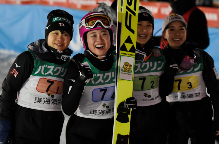 Hosts Japan took silver in today's women's team competition at the FIS Ski Jumping World Cup in Zao ©Getty Images