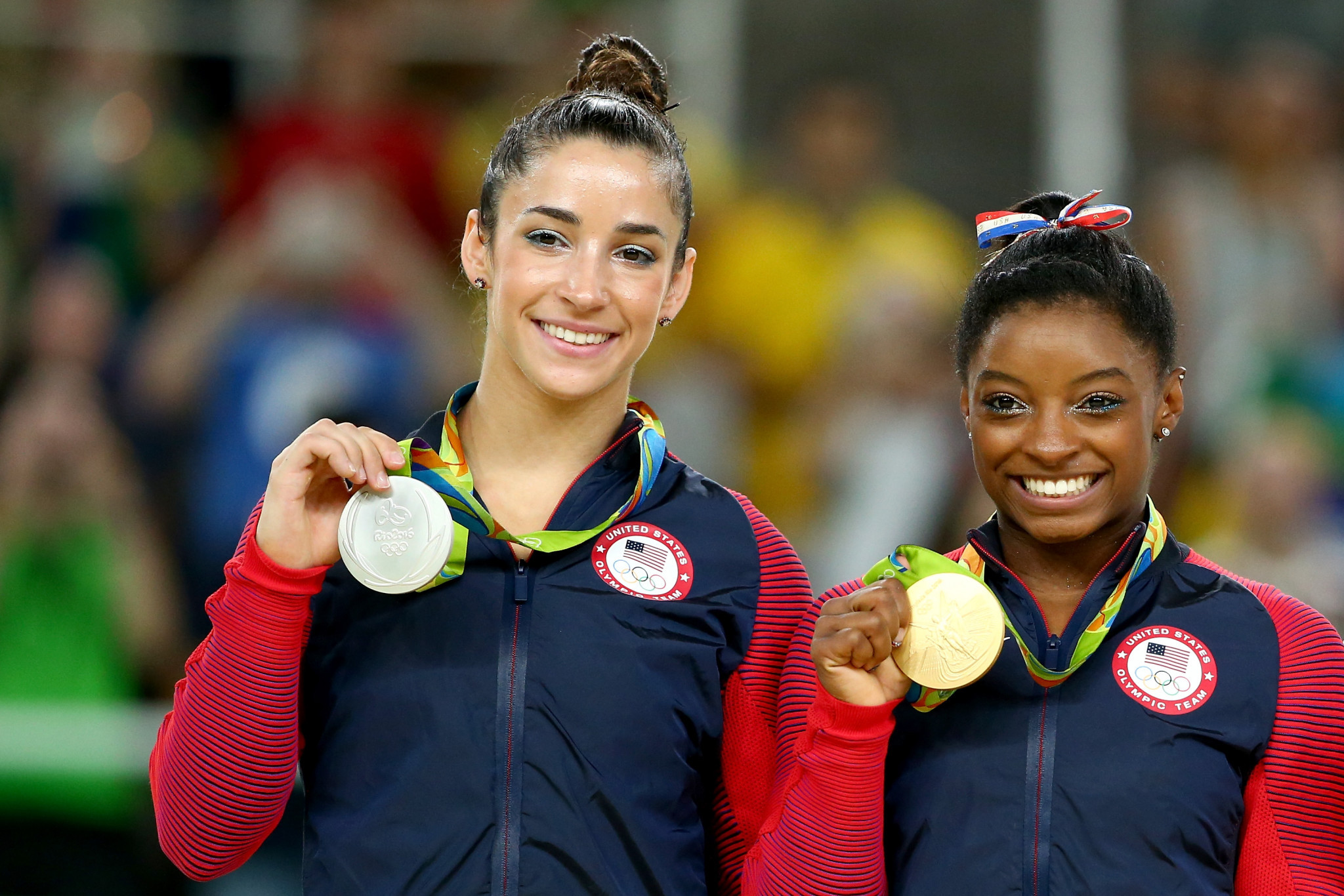 Aly Raisman, left, is a three-time Olympic gold medallist ©Getty Images