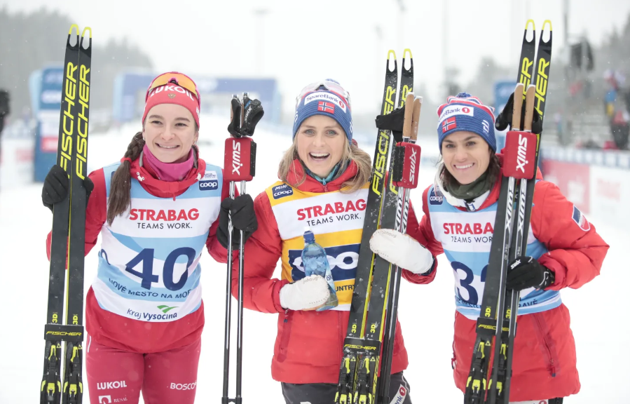 It was yet another happy day for Therese Johaug, centre ©Nordic Focus