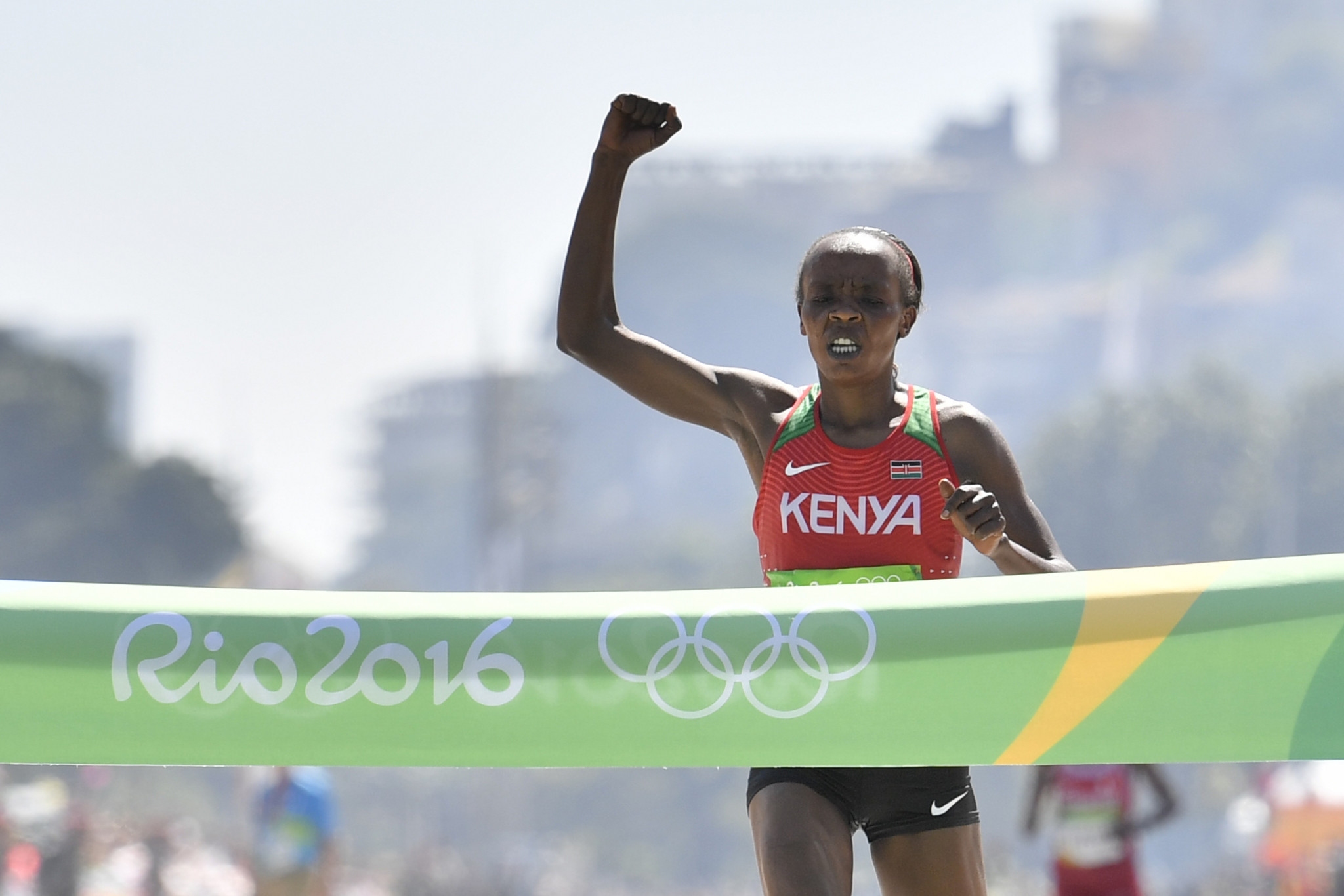 Olympic marathon champion Jemima Sumgong is among the top Kenyan runners currently banned for doping ©Getty Images