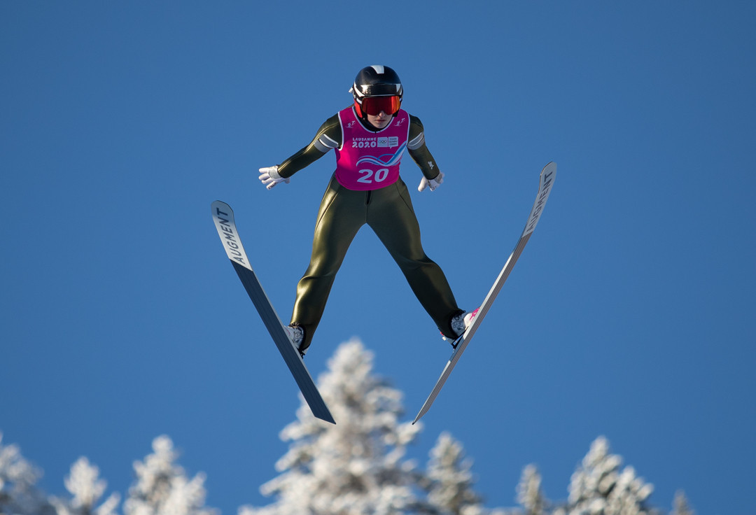 Lisa Hirner of Austria won the first Youth Olympic women's Nordic combined title ©OISphoto