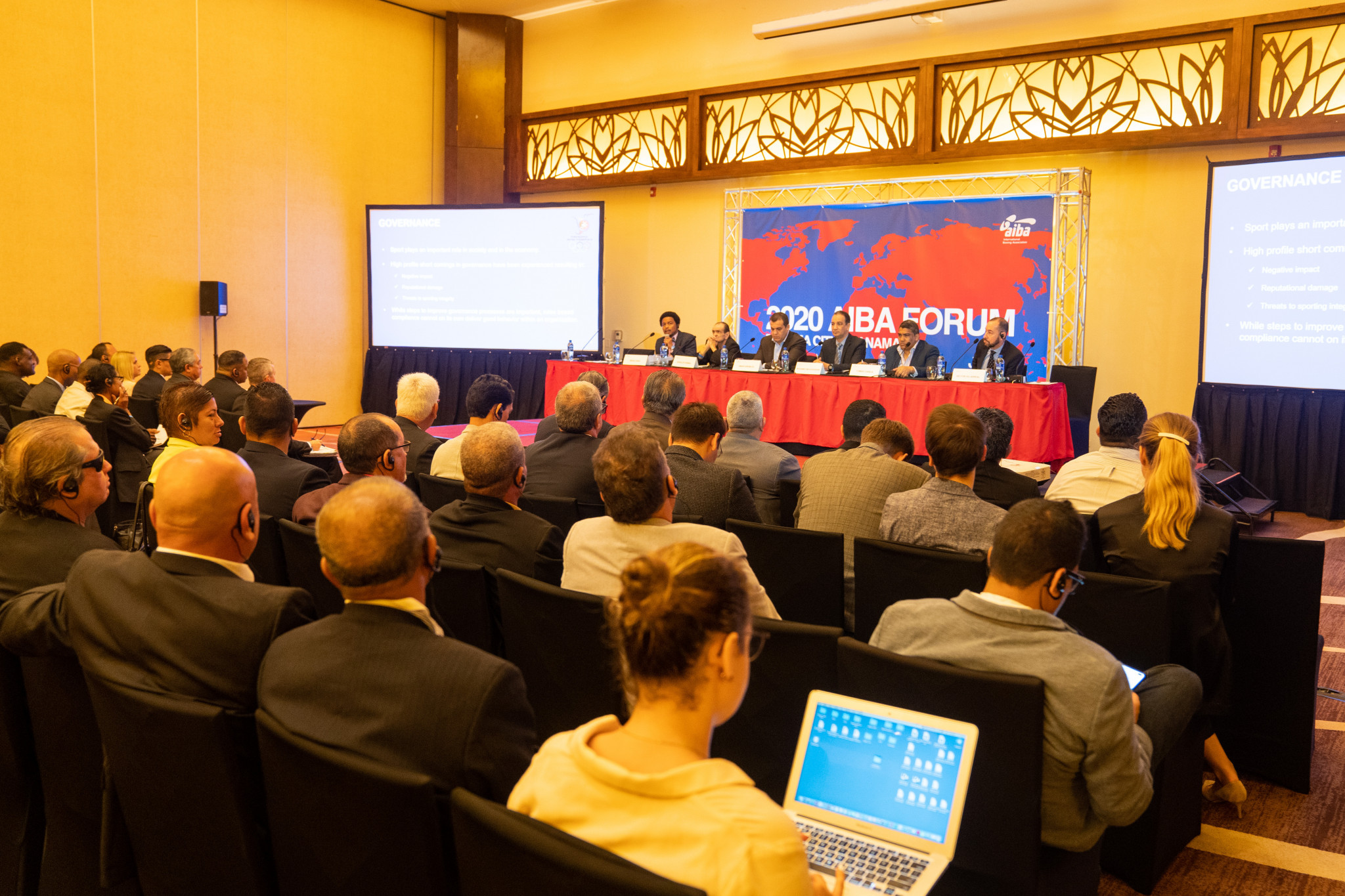 Brian Lewis delivered his message to AIBA at the first of the organisation's Continental Forums ©AIBA