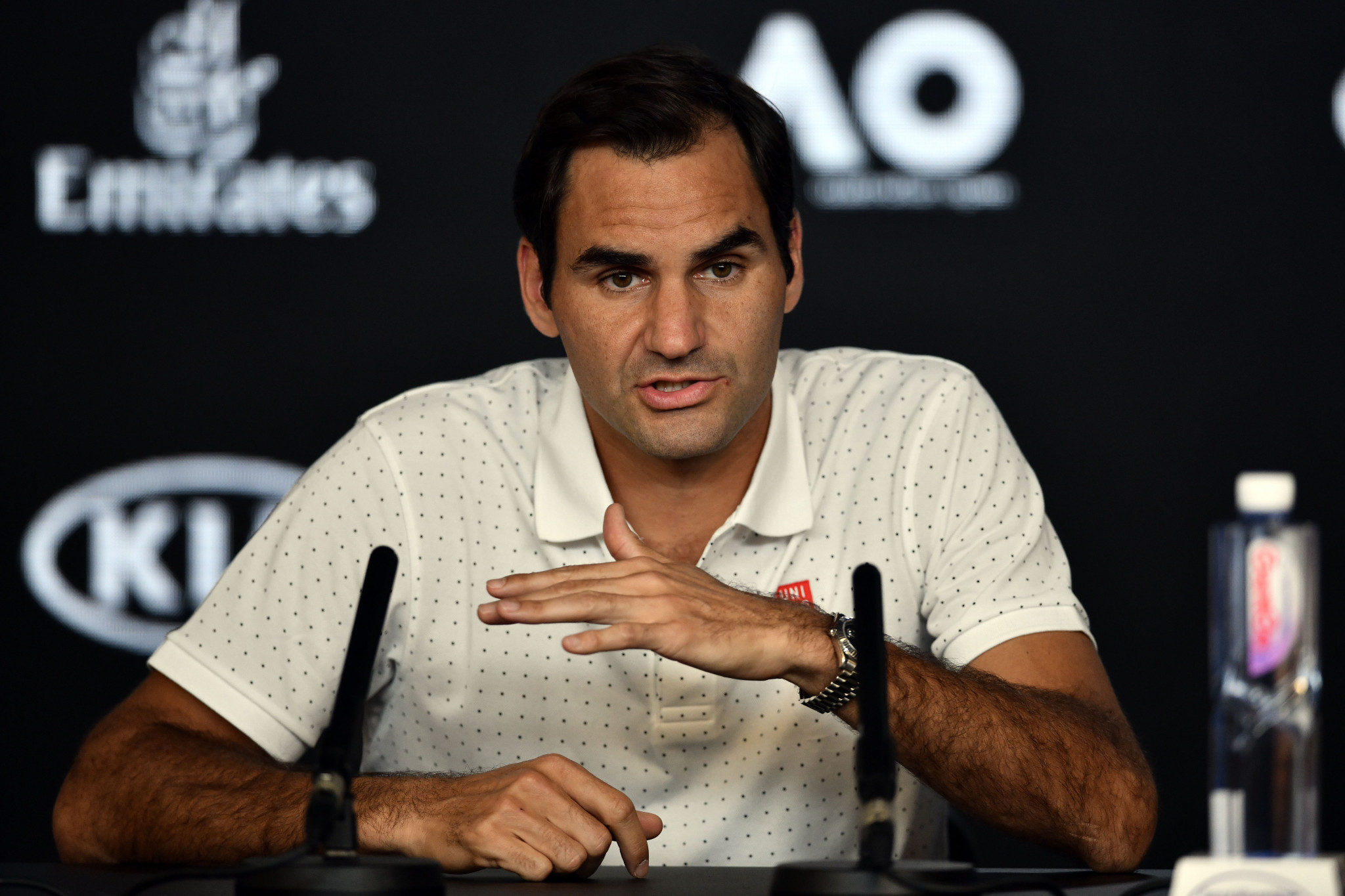 Roger Federer addresses the issue of air quality and athlete safety in a press conference ahead of the Australian Open tennis competition that begins tomorrow in Melbourne ©Getty Images