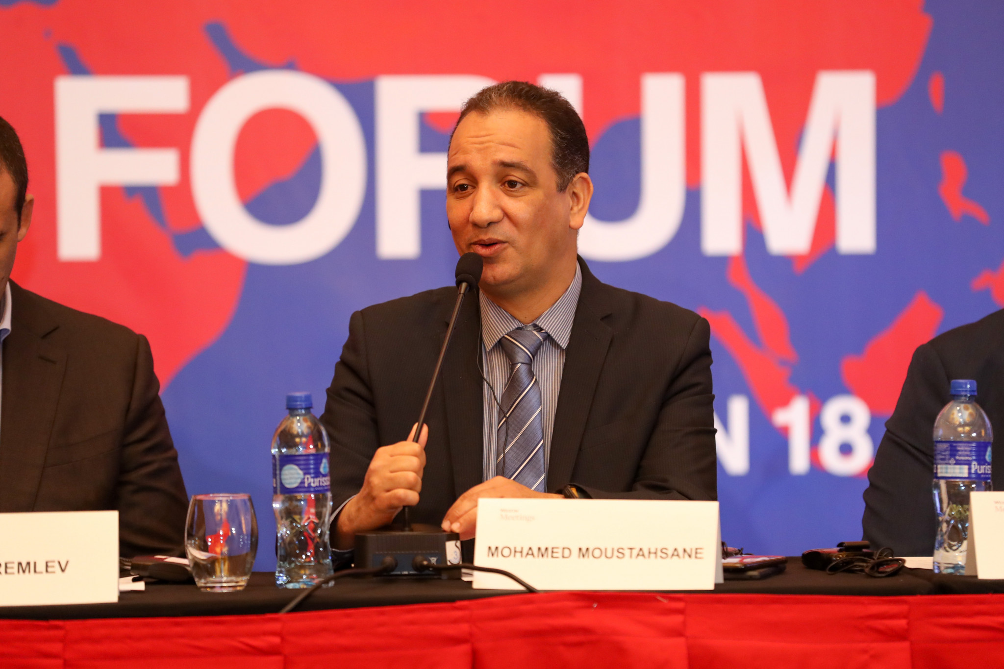 AIBA Interim President Mohamed Moustahsane introduced delegates to the meeting ©AIBA