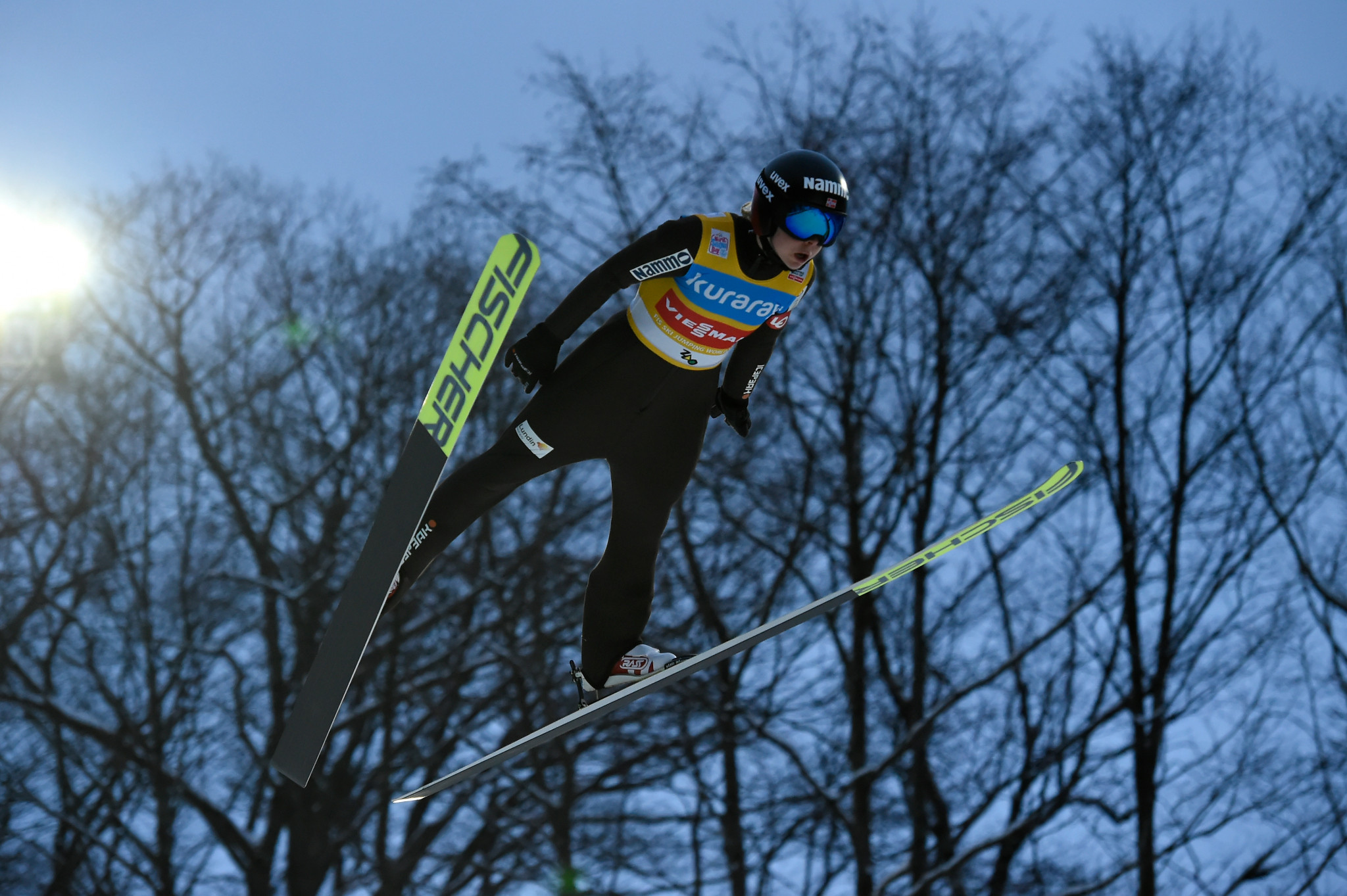 Maren Lundby retained the World Cup lead but is now in front by a single point ©Getty Images