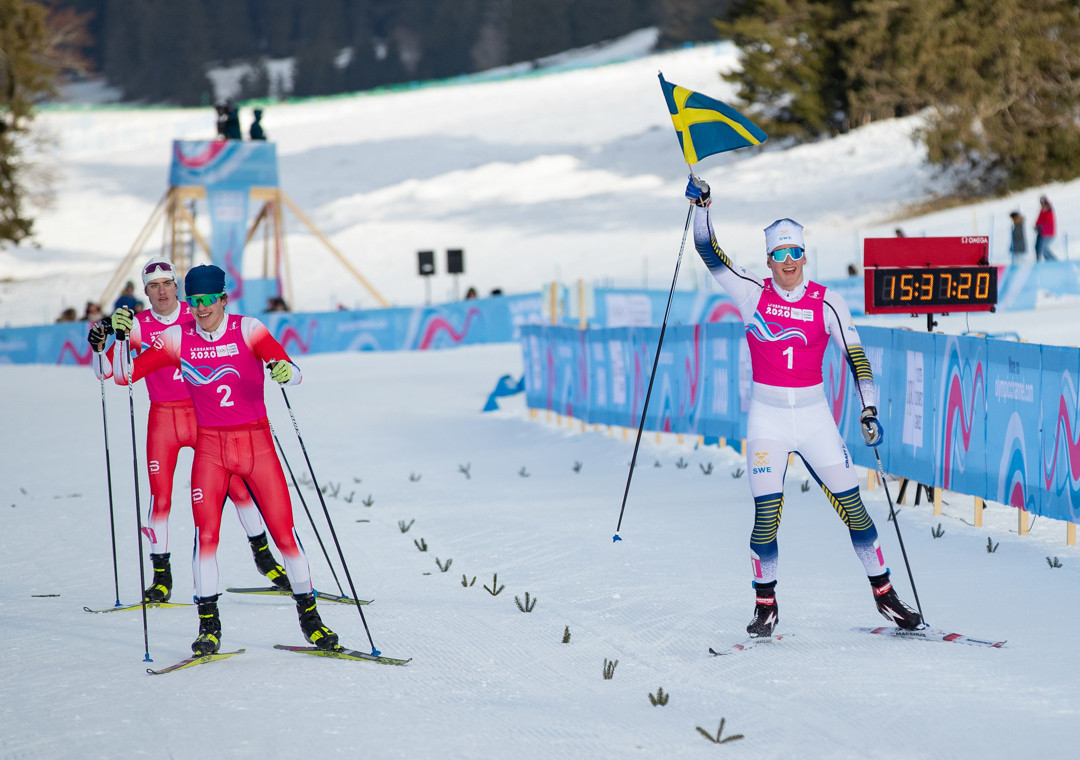 Edvin Anger of Sweden upgraded from gold in the cross-country free with victory in the sprint ©OISphoto