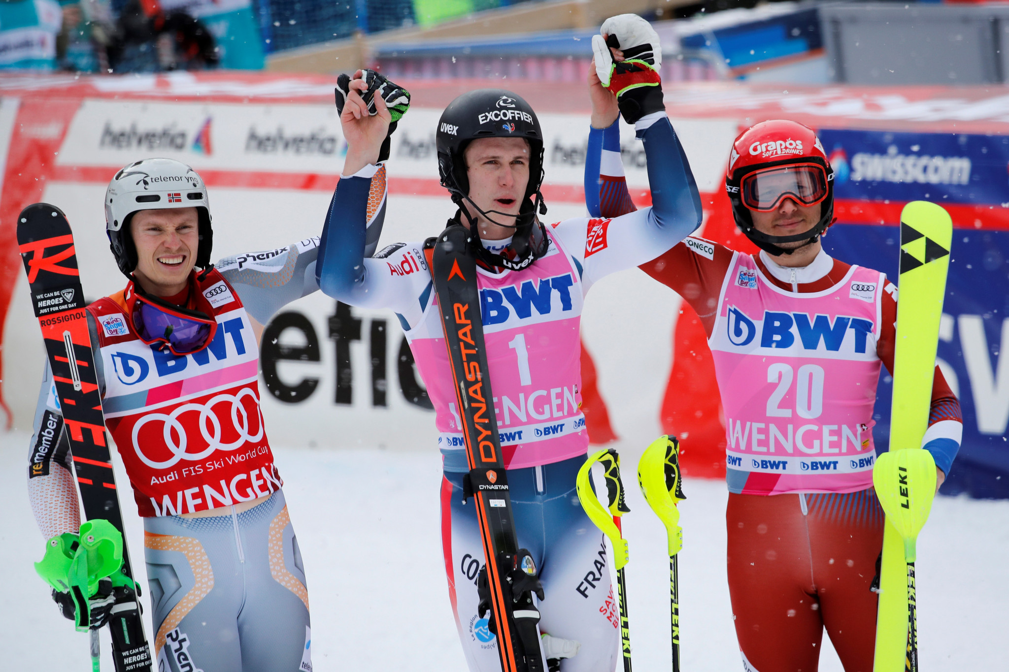 Norway's Henrik Kristoffersen, left, was the closest challenger to Clement Noel, centre ©Getty Images