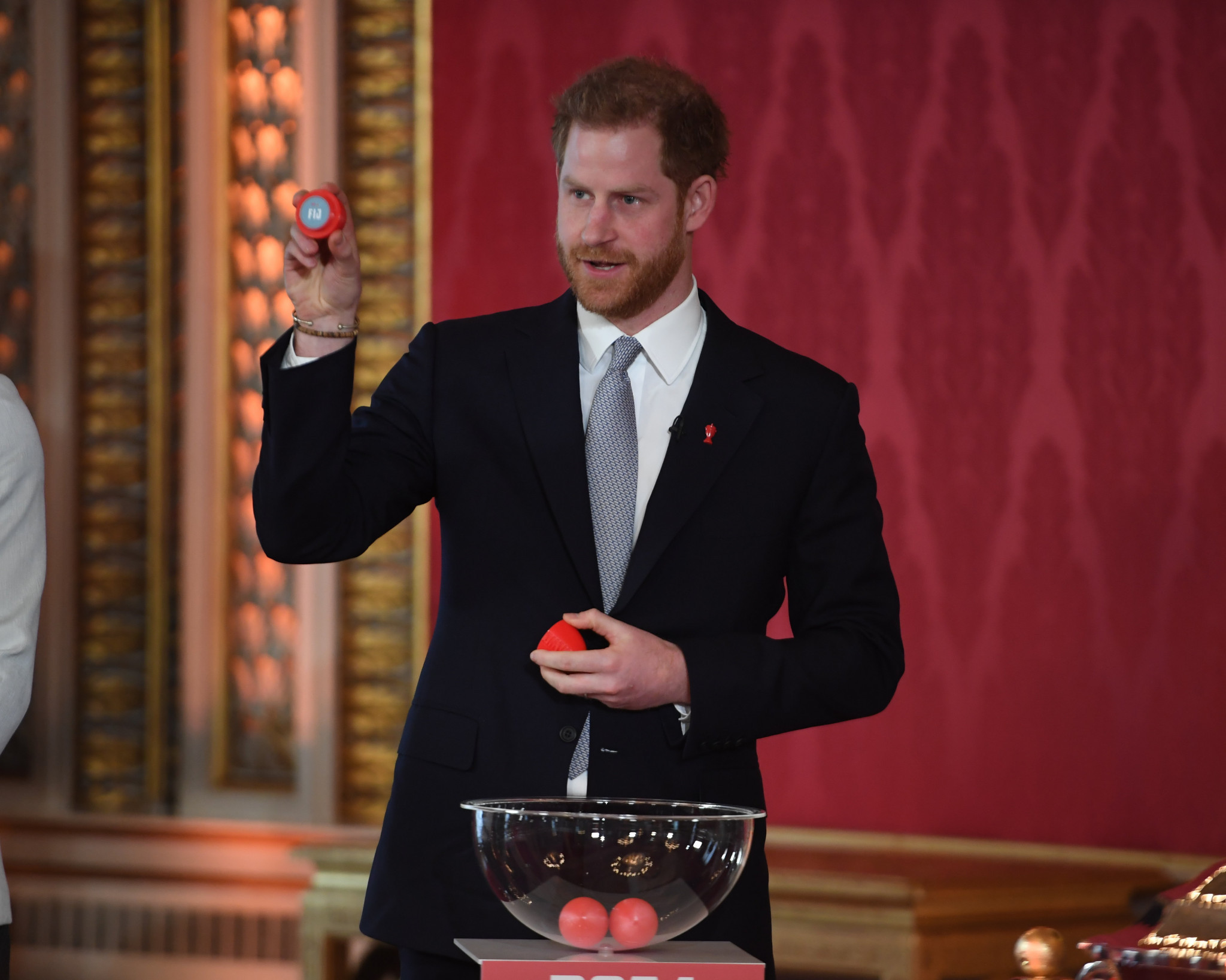 Prince Harry conducted the 2021 Rugby League World Cup draw at Buckingham Palace ©Getty Images
