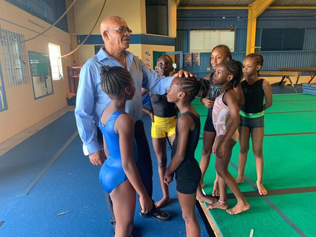 SVGOC President Trevor Bailey visited one of the training sessions held by gymnast coach Kristof Rada ©SVGOC