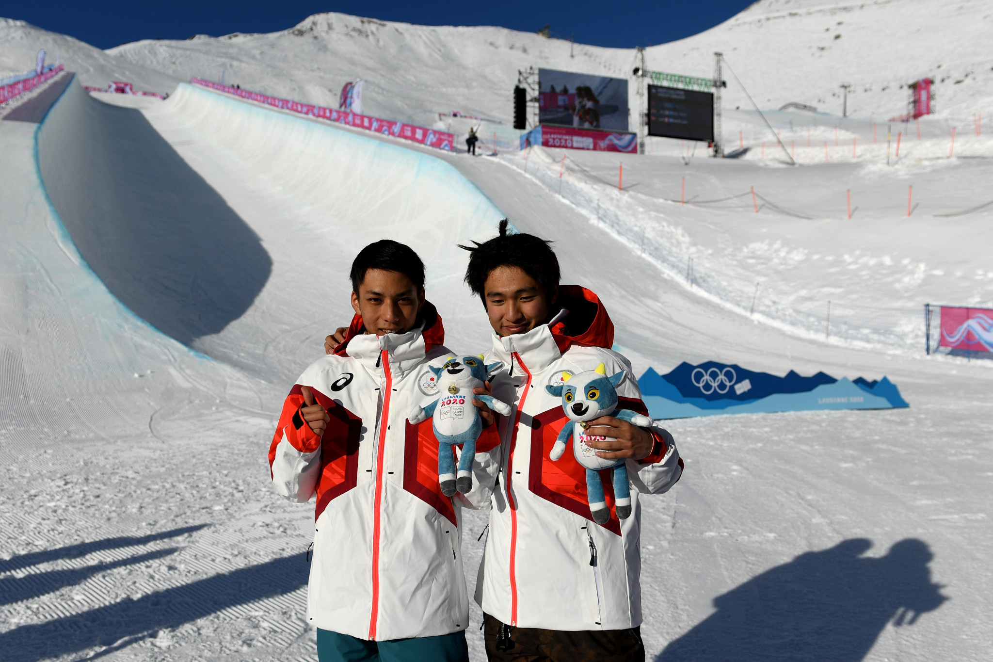 Japan celebrated snowboard halfpipe gold and silver for the second straight day ©Getty Images