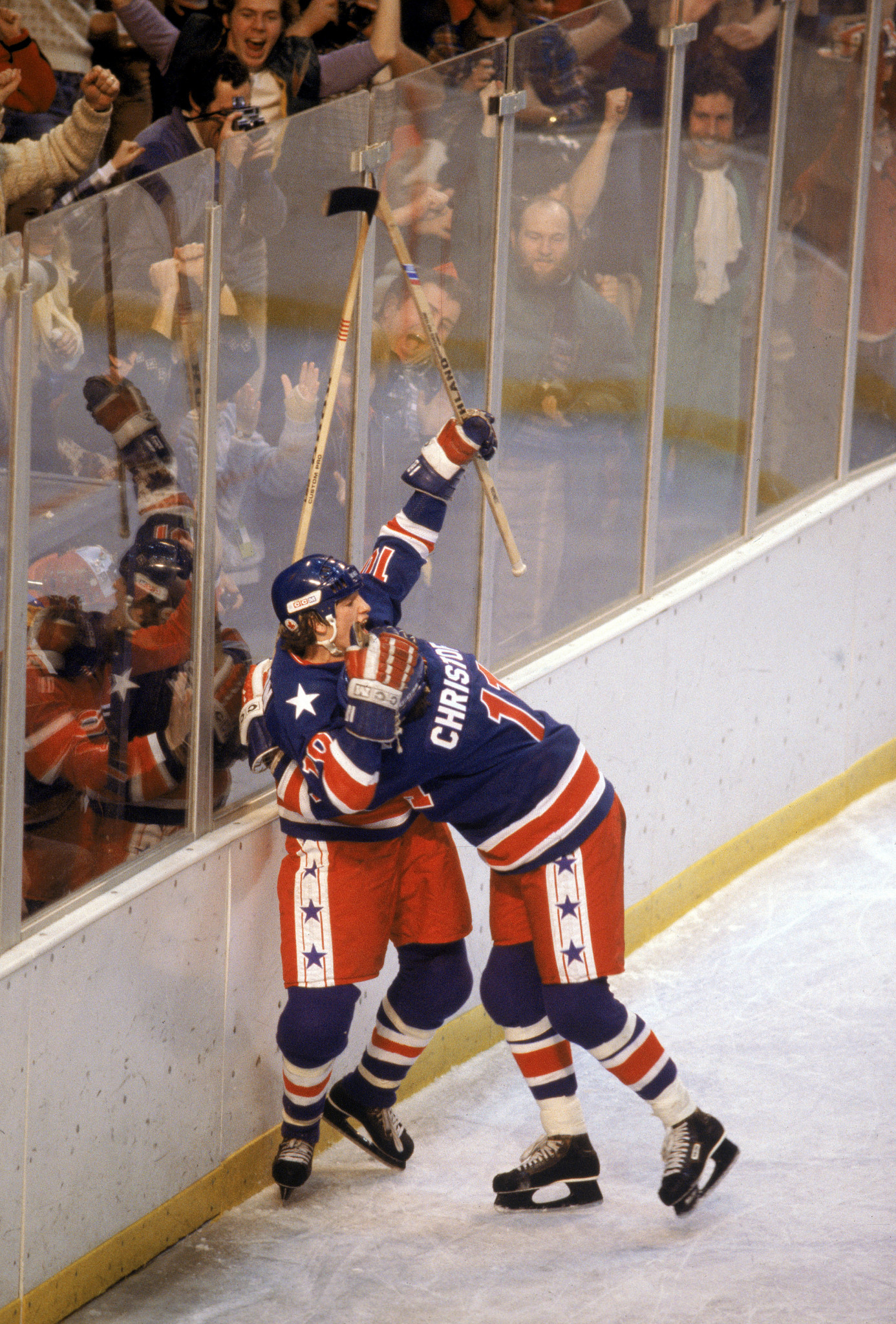Steve Christoff celebrates his goal in the United States' 4-2 victory over Finland which clinched them the Olympic gold medal at Lake Placid 1980 ©Getty Images