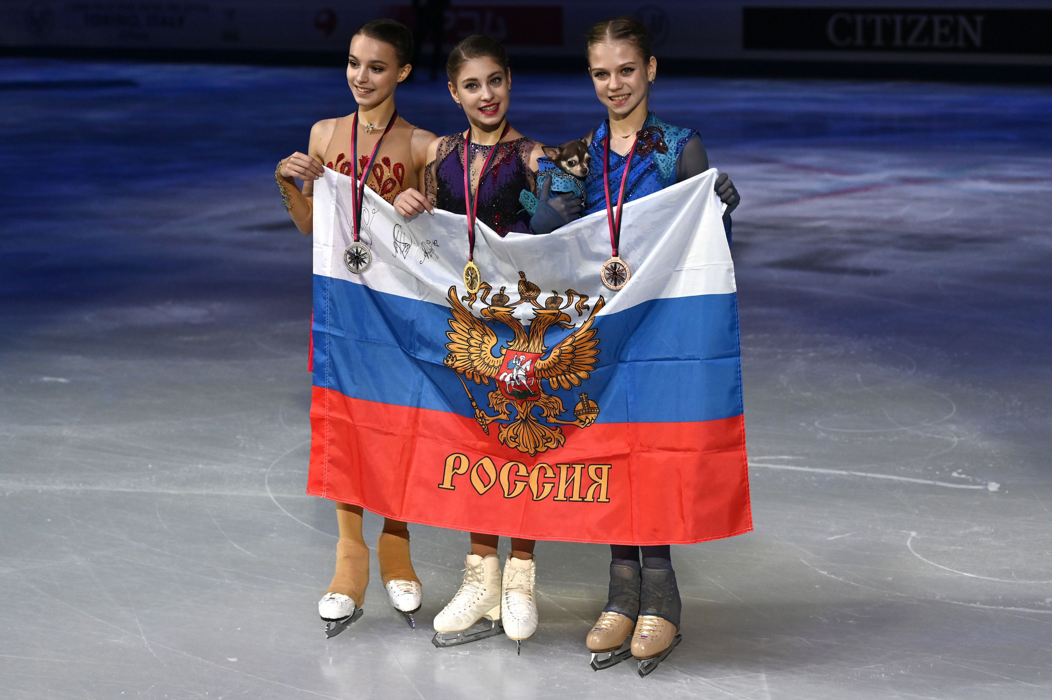 Alena Kostornaia, centre, Anna Shcherbakova, left, and Alexandra Trusova, right, completed a Russian clean sweep of the medals at the ISU Grand Prix Final and will be hoping for the same at the European Championships ©Getty Images