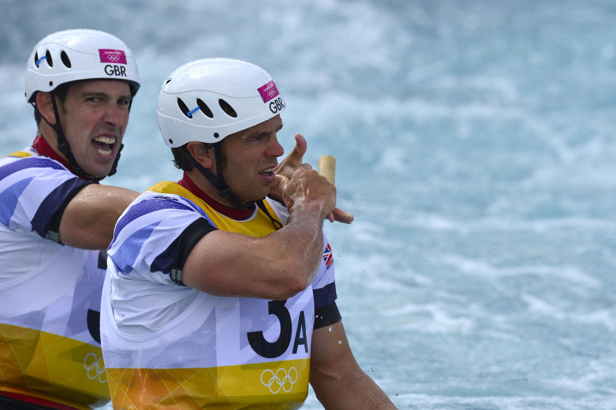 Etienne Stott, left, won Olympic gold at London 2012 in the C2 with Tim Baillie ©Getty Images