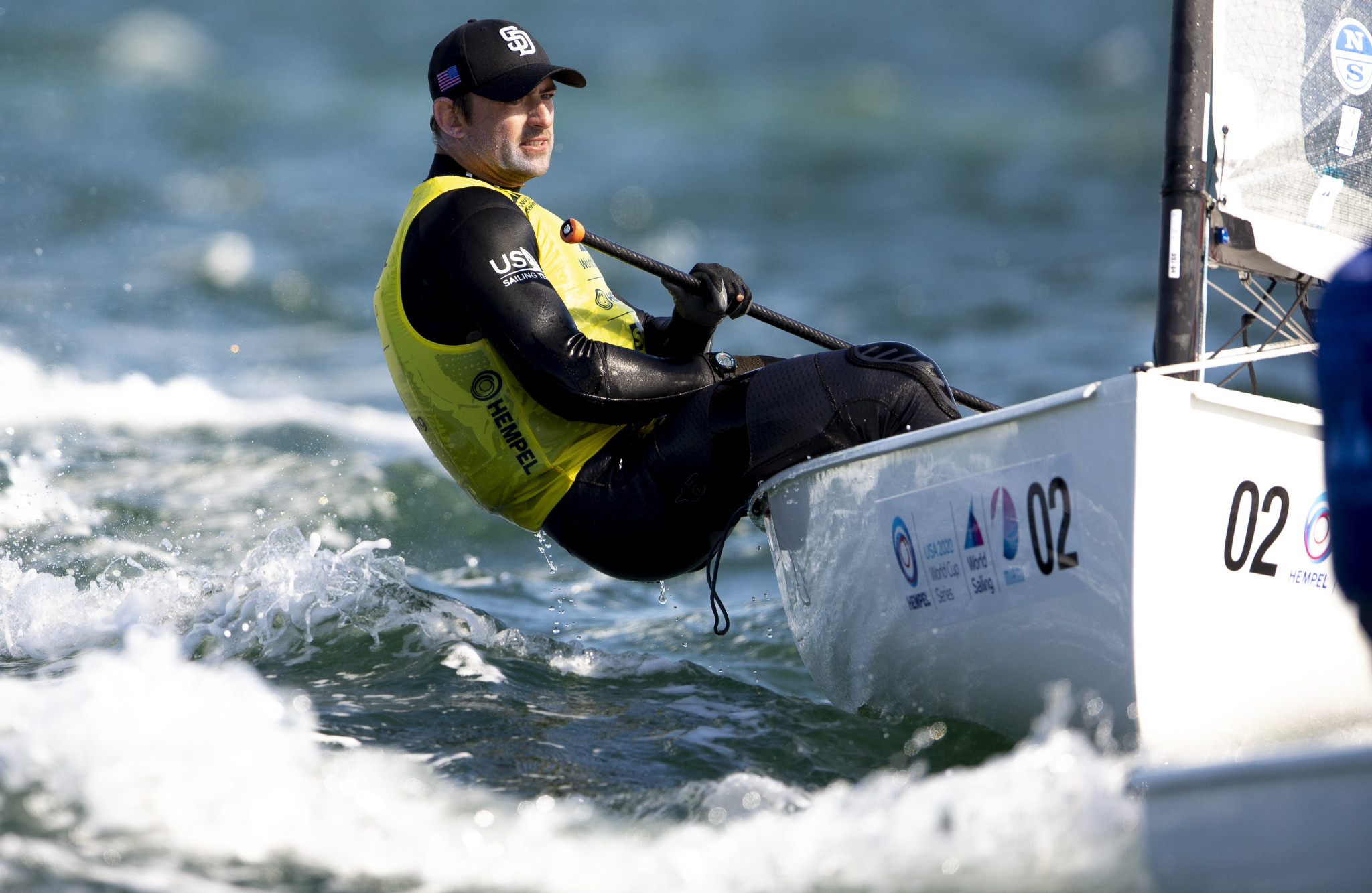 Caleb Paine is performing strongly in the finn in Miami ©World Sailing
