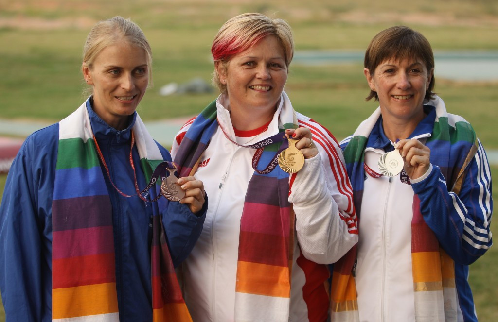 Namibian Gaby Ahrens (left) won trap bronze at the 2010 Commonwealth Games in New Delhi