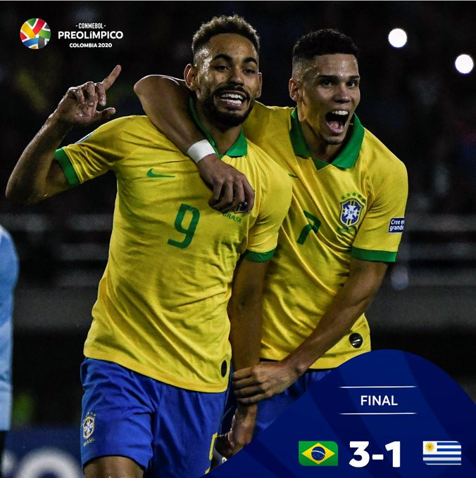 Brazil continue defence of men's Olympic football title with Uruguay victory
