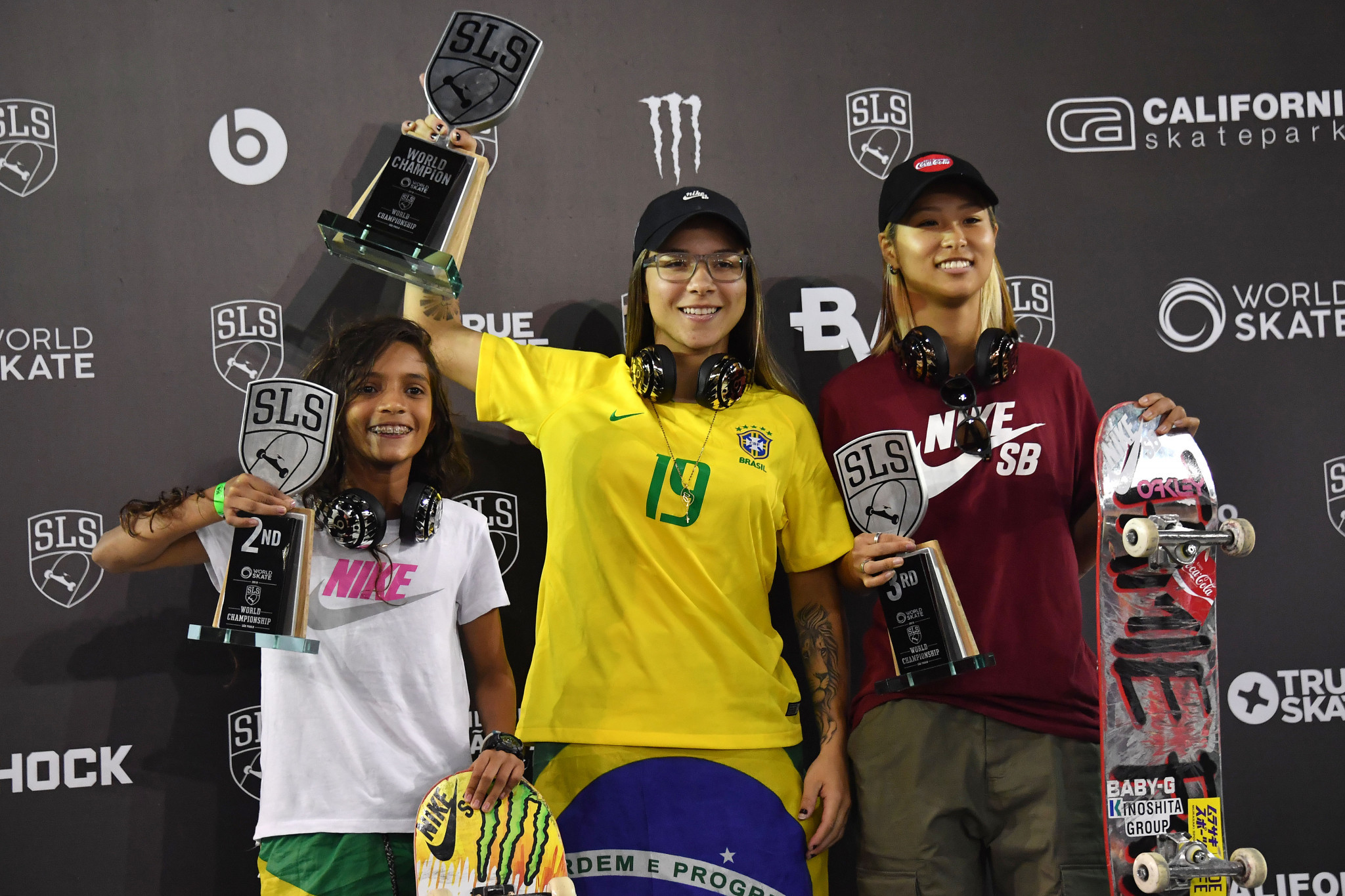 The women's podium from the 2019 World Championship in São Paulo was headed by Brazil's Pamela Rosa, centre, who is set to compete on the WS WLS World Pro Tour ©Getty Images