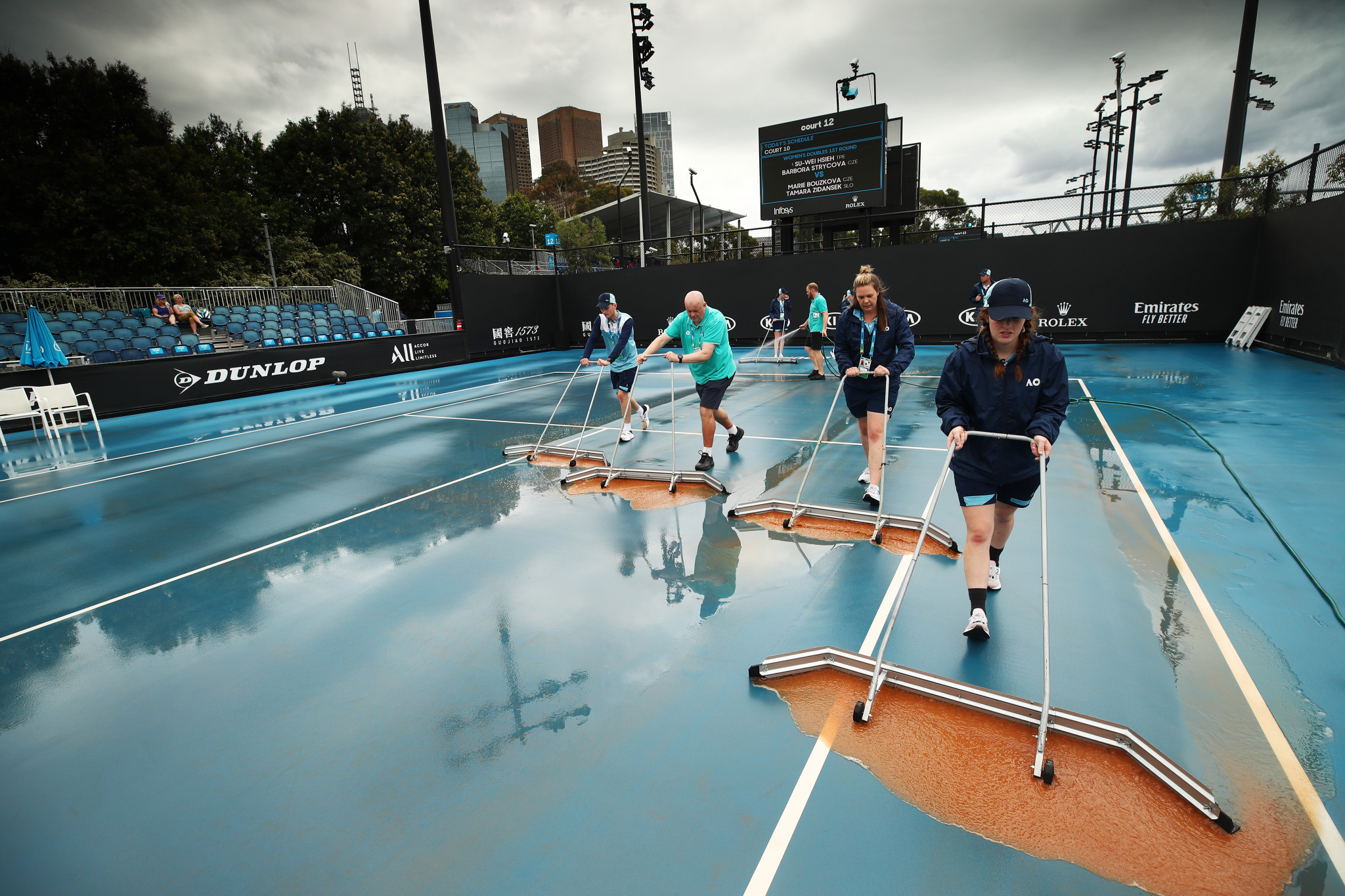 Play on the outside courts was severely delayed ©Getty Images