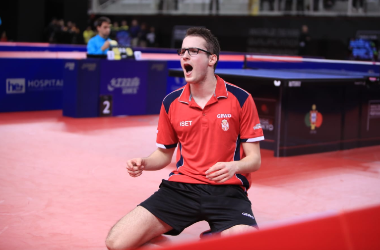 Dimitrije Levajac was on fire for Serbia ©Remy Gros/ITTF