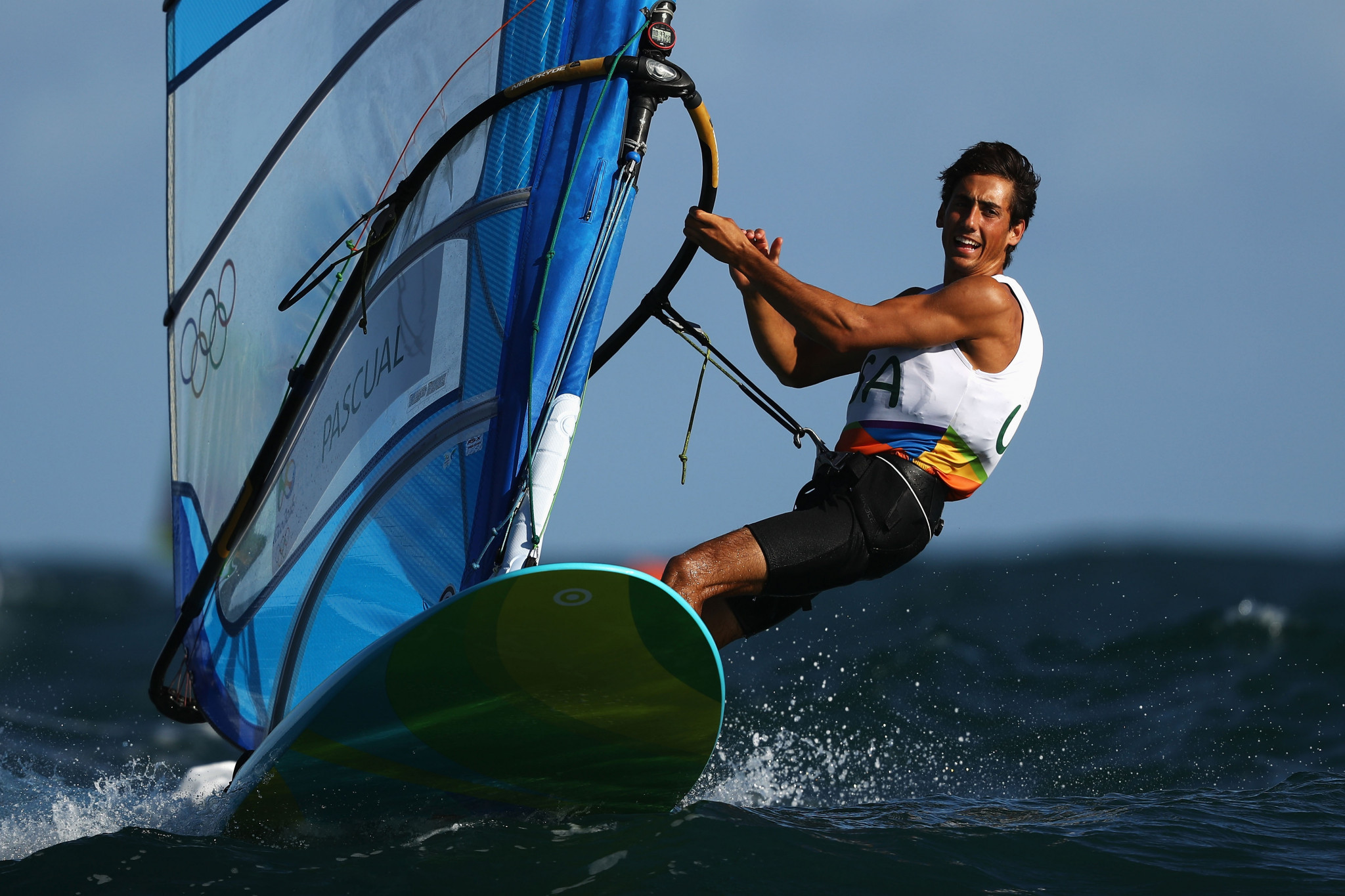 Home RS:X athlete Pedro Pascual enjoyed a day of limited racing at the Sailing World Cup in Miami ©Getty Images