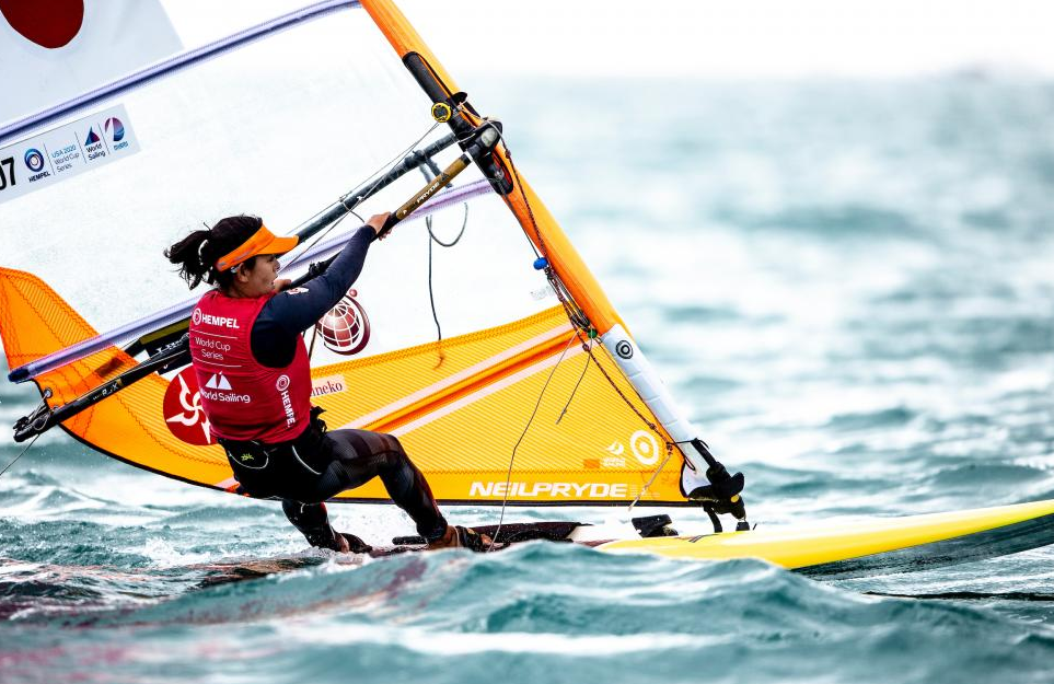 Japan's Megumi Komine won the only women's RS:X race run on a day of weather-related postponements in Miami ©World Sailing