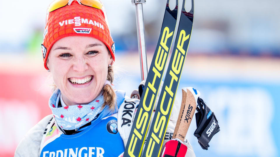 Germany's Denise Herrmann could not hide her delight after winning the women's 15 kilometres individual event at the IBU World Cup in Pokljuka ©IBU/Petr Slavik