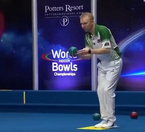 Brett seeking hat-trick of golds as he reaches open singles final at World Indoor Bowls Championships