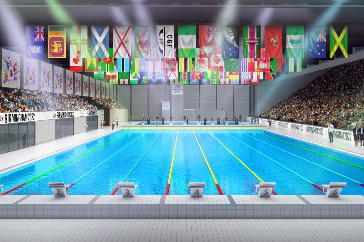 The new multi-million pound Sandwell Aquatics Centre will host swimming during the 2022 Commonwealth Games ©Birmingham 2022