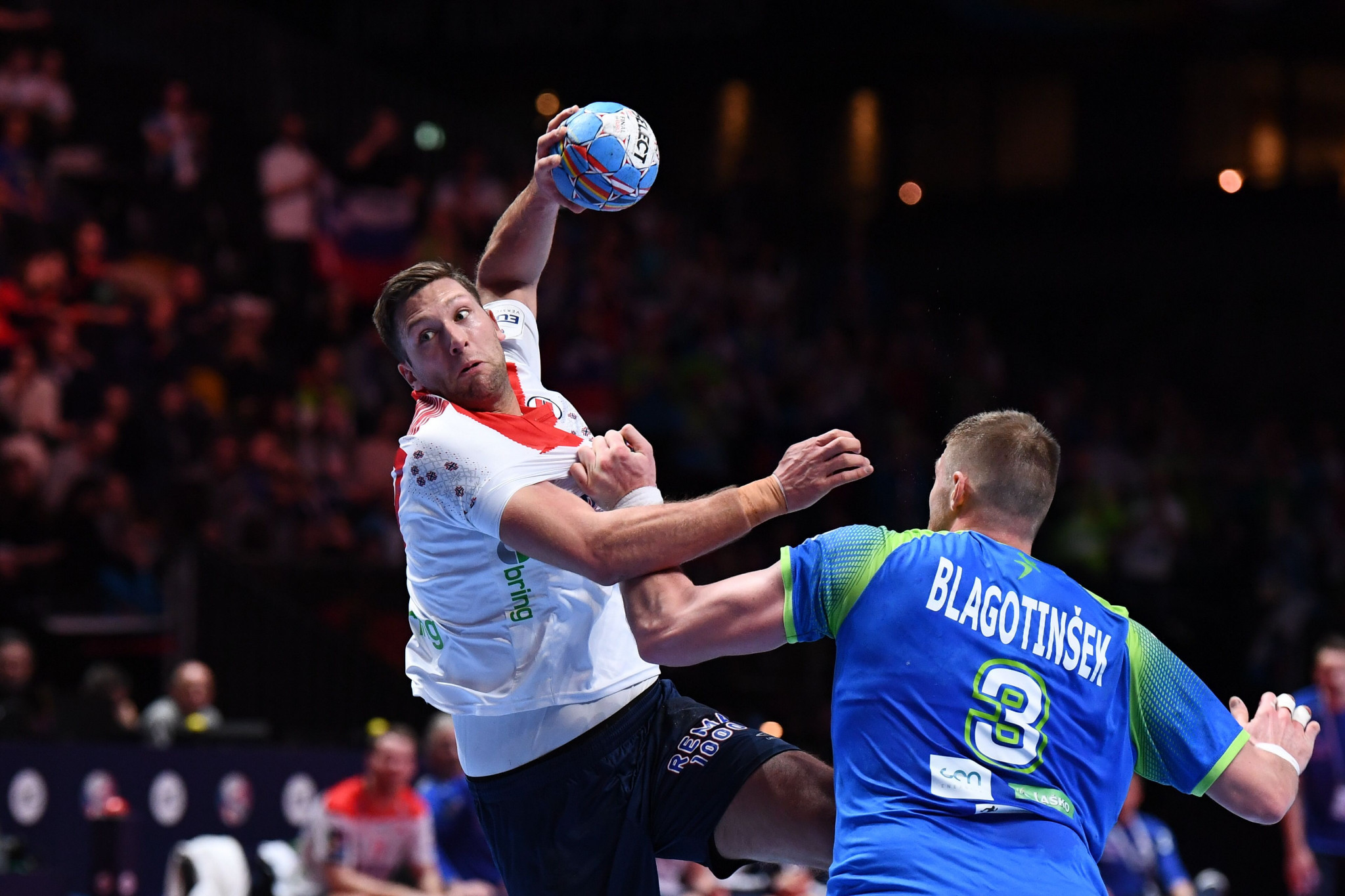Norway's Harald Reinkind scores during the the Men's European Handball Championship bronze medal match against Slovenia in Stockholm ©Getty Images
