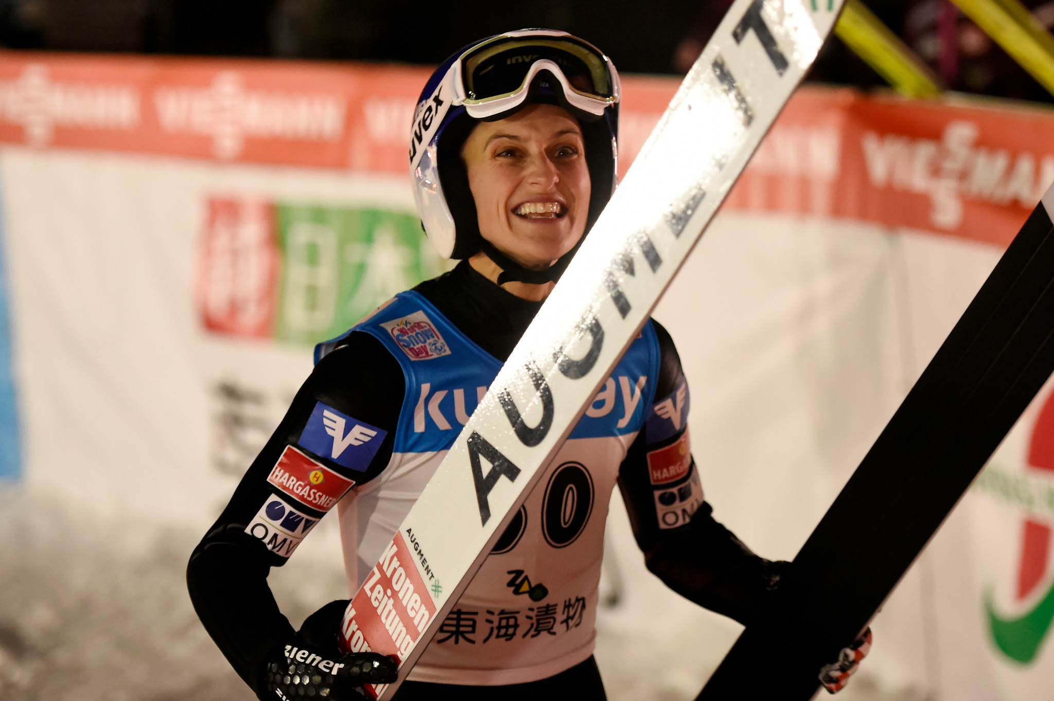 Eva Pinkelnig of Austria maintained her place in second in the FIS Ski Jumping World Cup standings ©Getty Images