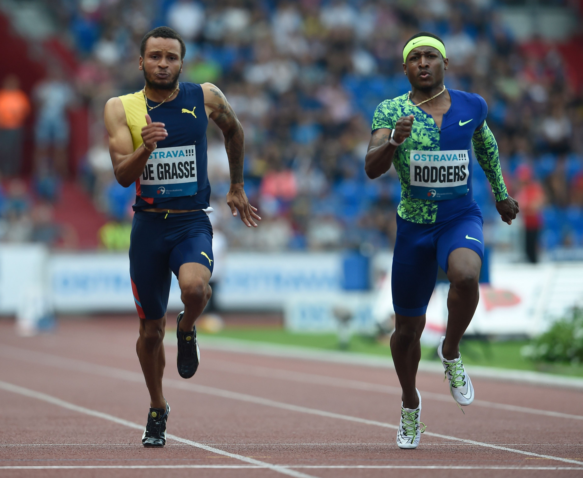 Andre De Grasse of Canada and Mike Rodgers of United States compete during the 100m at the 2019 Golden Spike Athletics meeting in Ostrava, Czech Republic © Getty Images