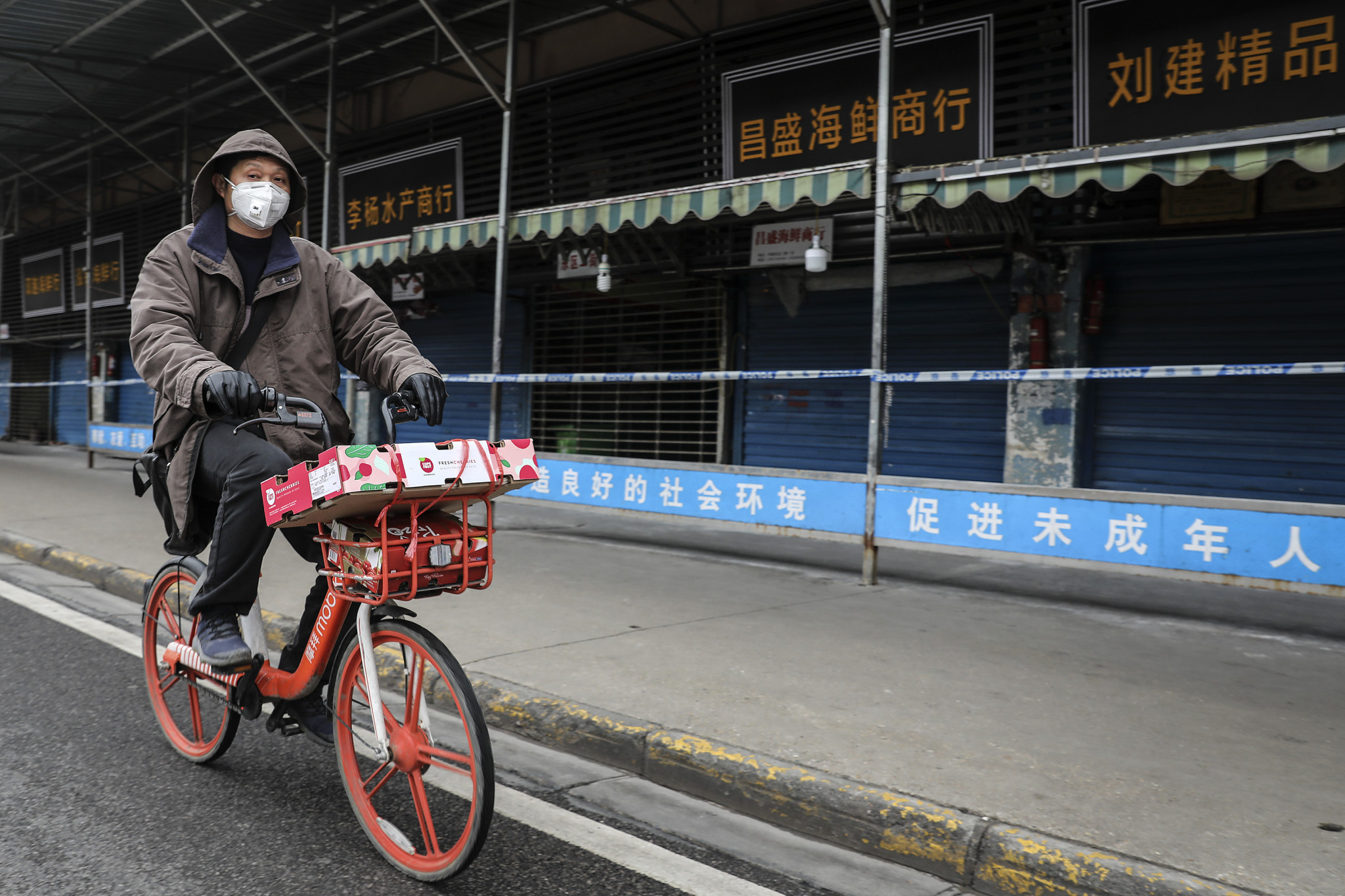 A man in Wuhan wears a mask in the initial days of the coronavirus ©Getty Images