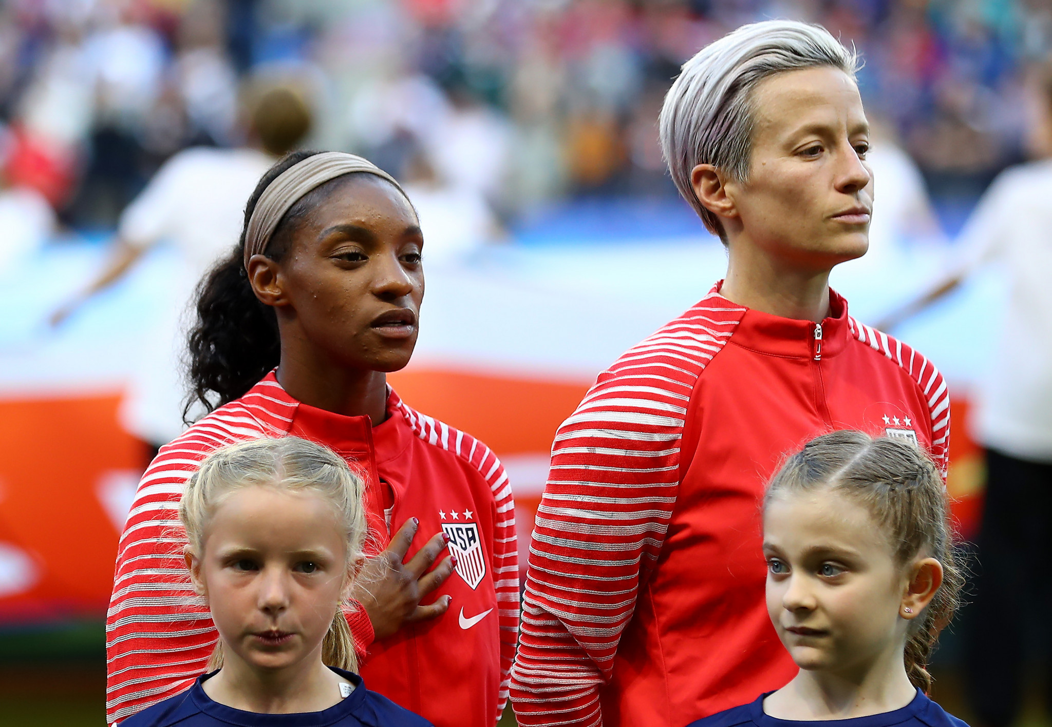 American footballer Megan Rapinoe refuses to sing the national anthem before each match ©Getty Images