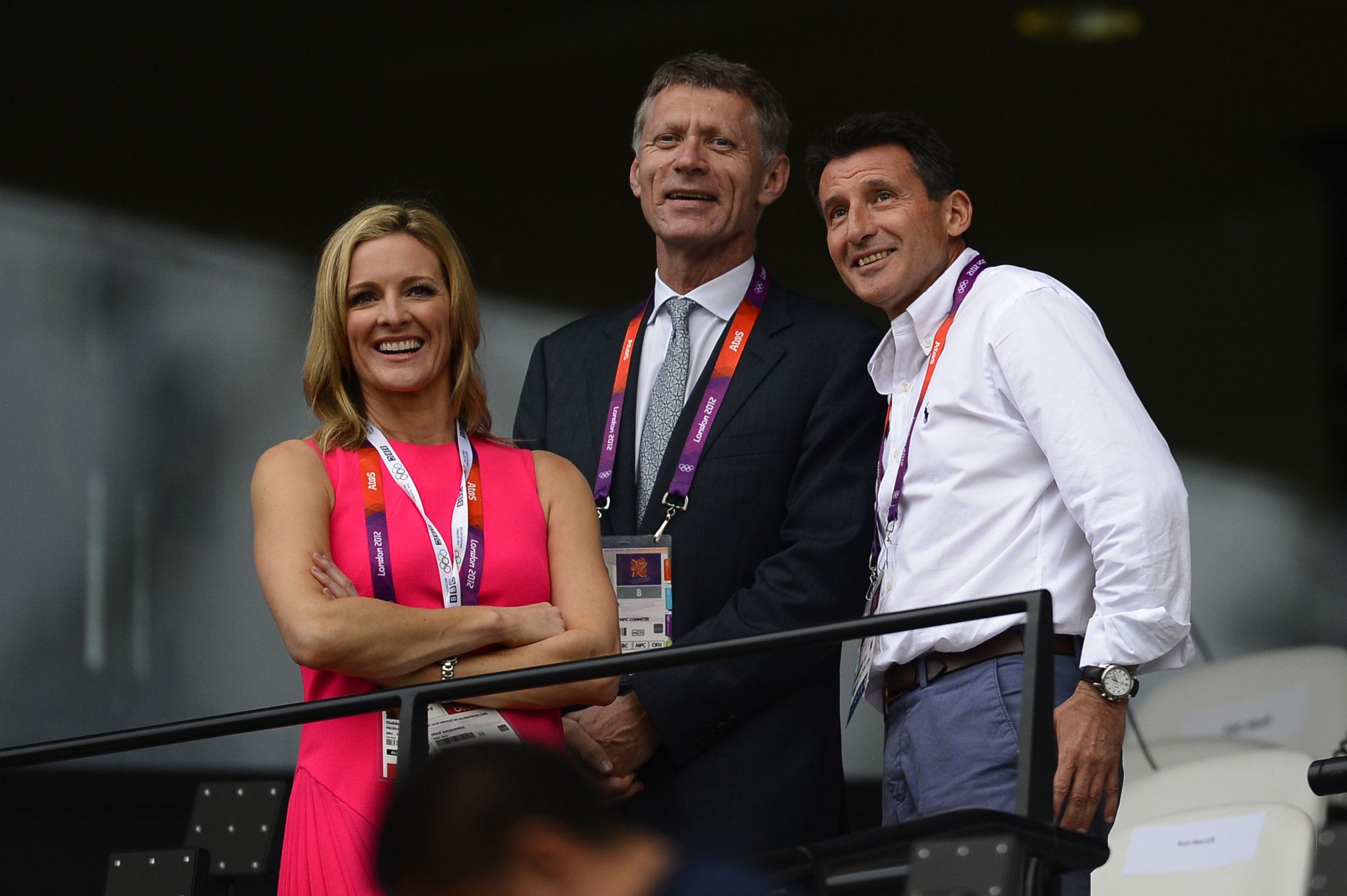 Anthony Edgar, pictured here with British television presenter Gabby Logan and London 2012 chairman Sebastian Coe, was responsible for managing the delivery of media facilities and services at Olympic Games ©Getty Images