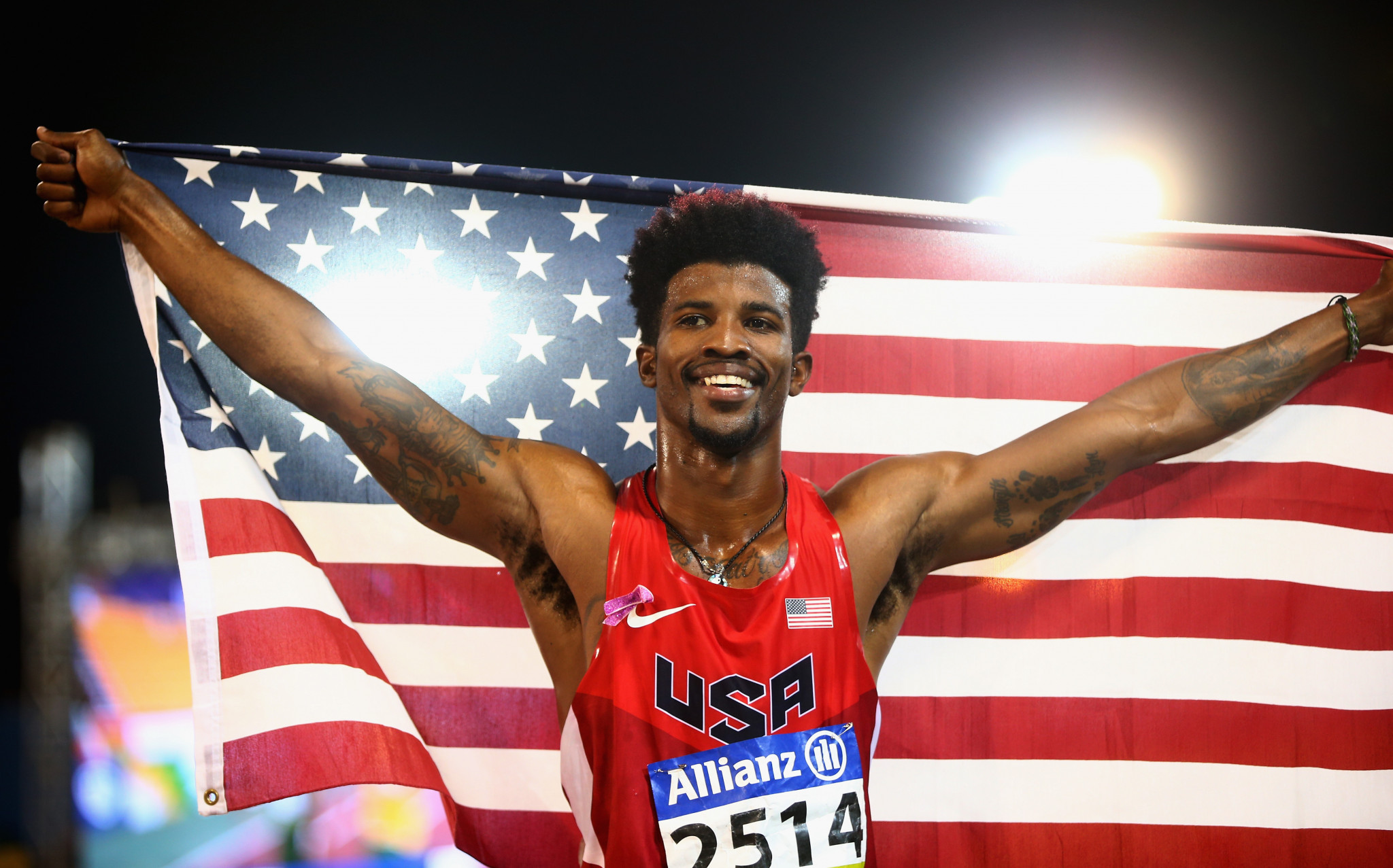 United States Richard Browne after breaking the T44 100m record ©Getty Images