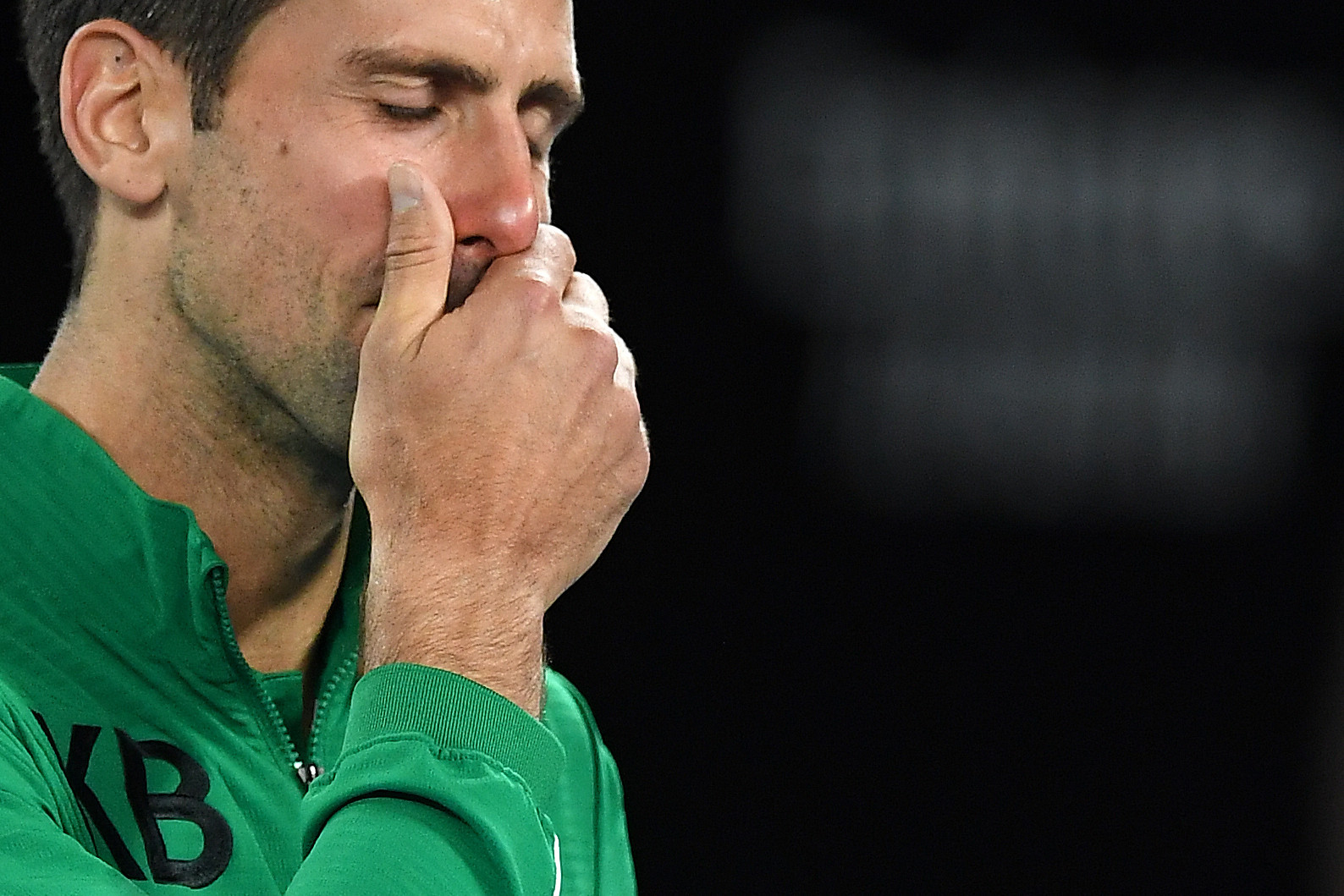 Djokovic fought back tears in a jacket with the initials KB as he paid tribute to basketball star Kobe Bryant, following his death in a helicopter crash ©Getty Images