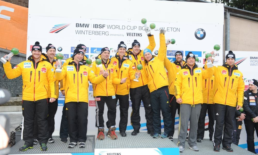 Germany swept the podium for the second successive World Cup ©IBSF