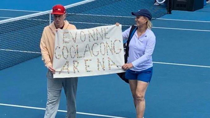 """Martina Navratilova and John McEnroe unveiled a banner reading """"Evonne Goolagong Arena"""" ©Twitter"""