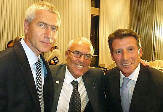 World Athletics President Sebastian Coe, right, is to write to Russian Sports Minister Oleg Matytsin, left, warning that his country's athletes are in danger of being banned from Tokyo 2020 ©EUSA