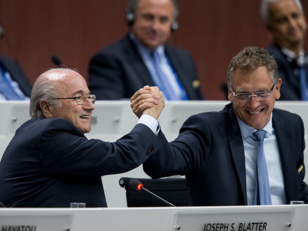 FIFA President Sepp Blatter (left) and secretary general Jérôme Valcke are alleged to have been involved in a $10 million payment from the South African FA to Jack Warner and Chuck Blazer at CONCACAF during the bid for the 2010 World Cup ©Getty Images