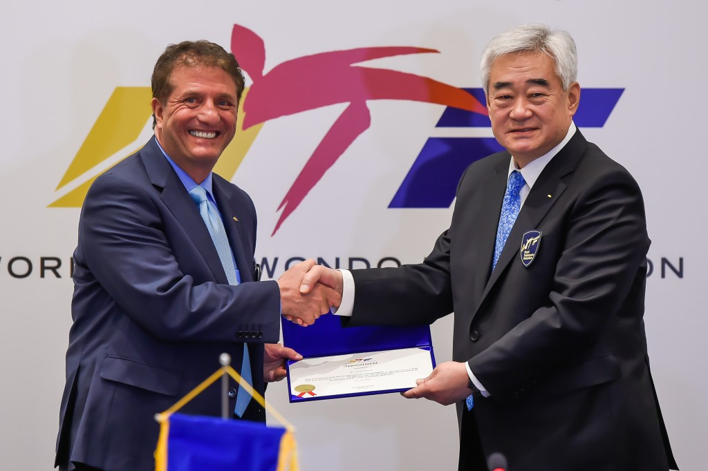 Newly appointed secretary general Hoss Rafaty with WTF President Chungwon Choue ©WTF