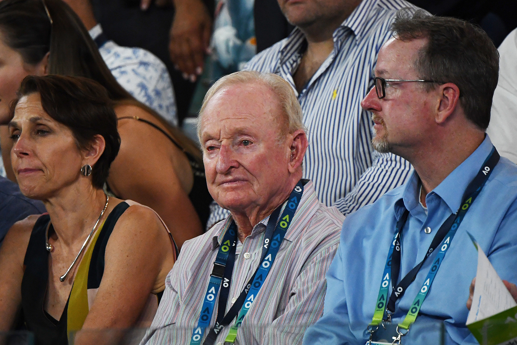 Rod Laver was among the spectators to watch Thiem win a third-set tiebreak to edge ahead ©Getty Images