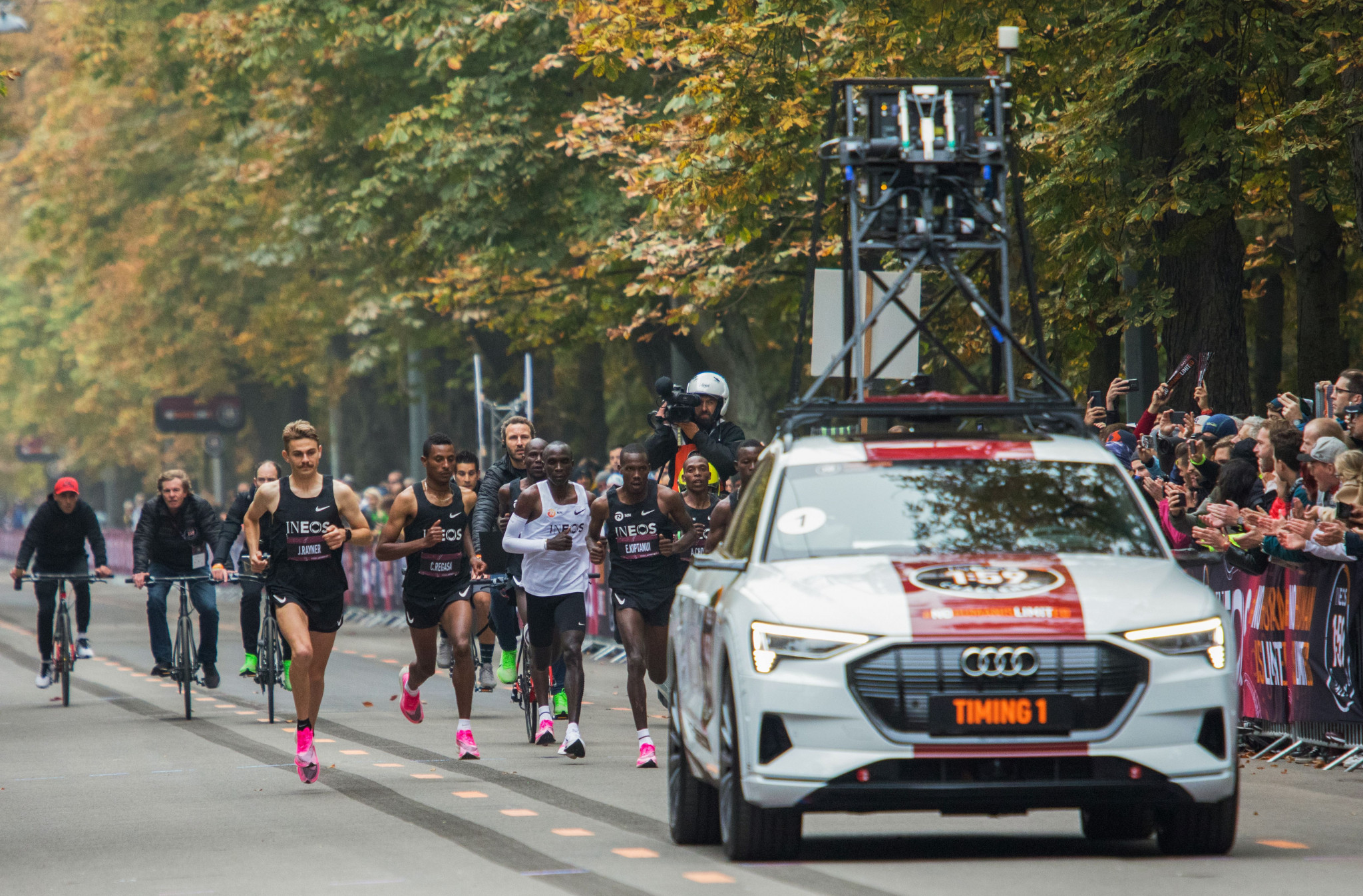 Shoes worn by Eliud Kipchoge during his successful attempt at breaking the two-hour marathon barrier in Vienna last October have been banned under the new rules ©Getty Images