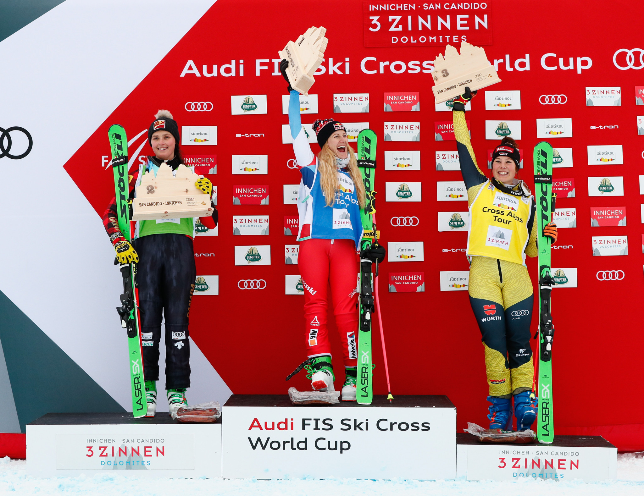 Fanny Smith, Marielle Thompson and Daniela Maier - pictured on the podium in Italy in December - all qualified in the top four  ©Getty Images