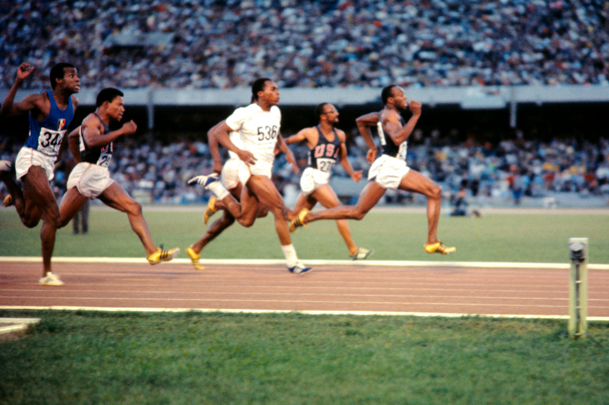 Jim Hines en route to Olympic 100m gold at the Mexico City 1968 Games in a world record of 9.95sec. He was less successful as an NFL player, earning the nickname