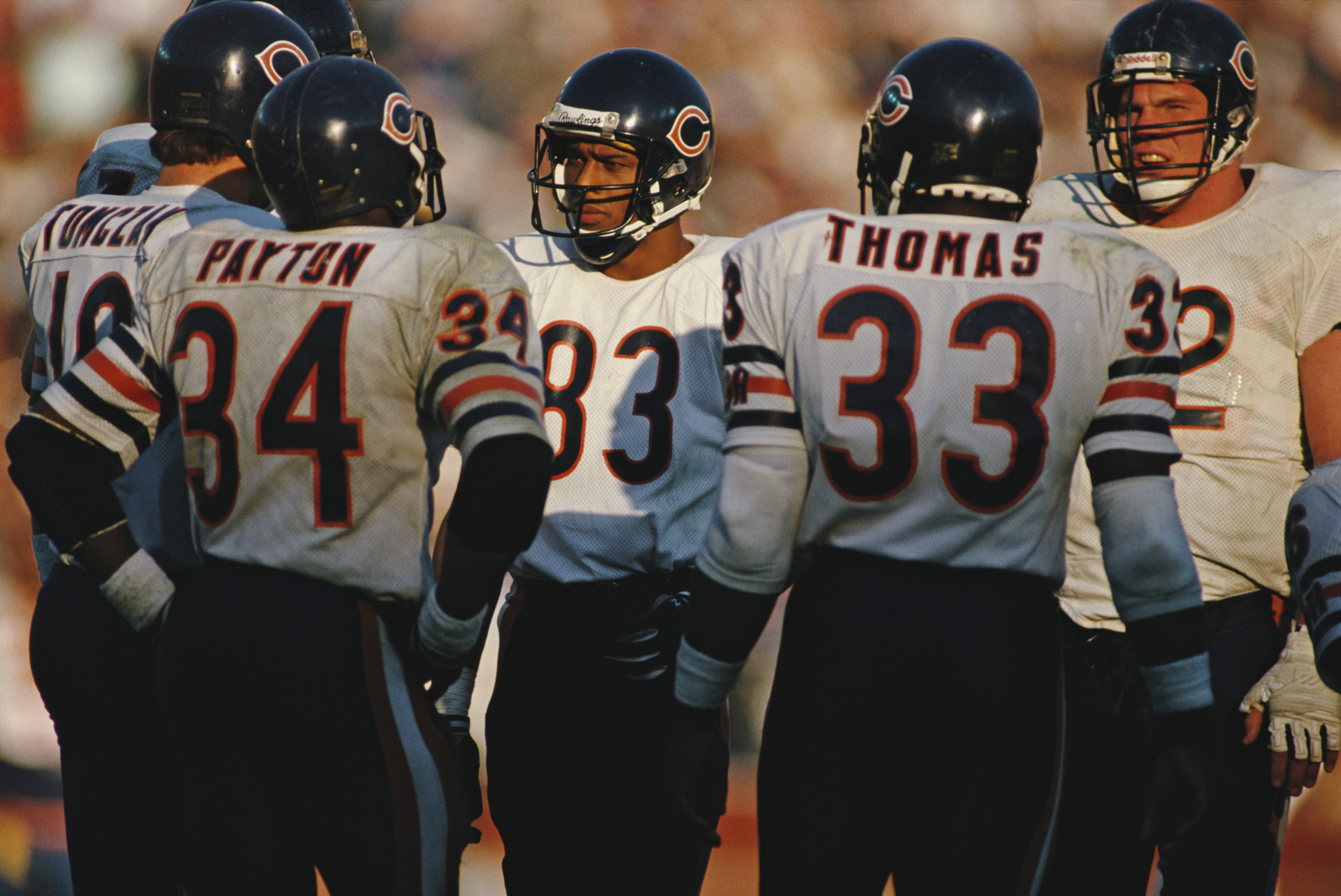 Willie Gault, pictured centre, was unable to compete at the 1980 Olympics because of the US boycott, but won world relay gold in 1983 and helped the Chicago Bears win the Super Bowl in 1985 ©Getty Images